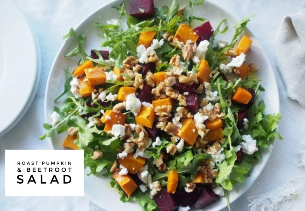 roast pumpkin beetroot salad