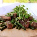 Barbecued Steak with Grilled Asparagus & Sweet Mustard Dressing