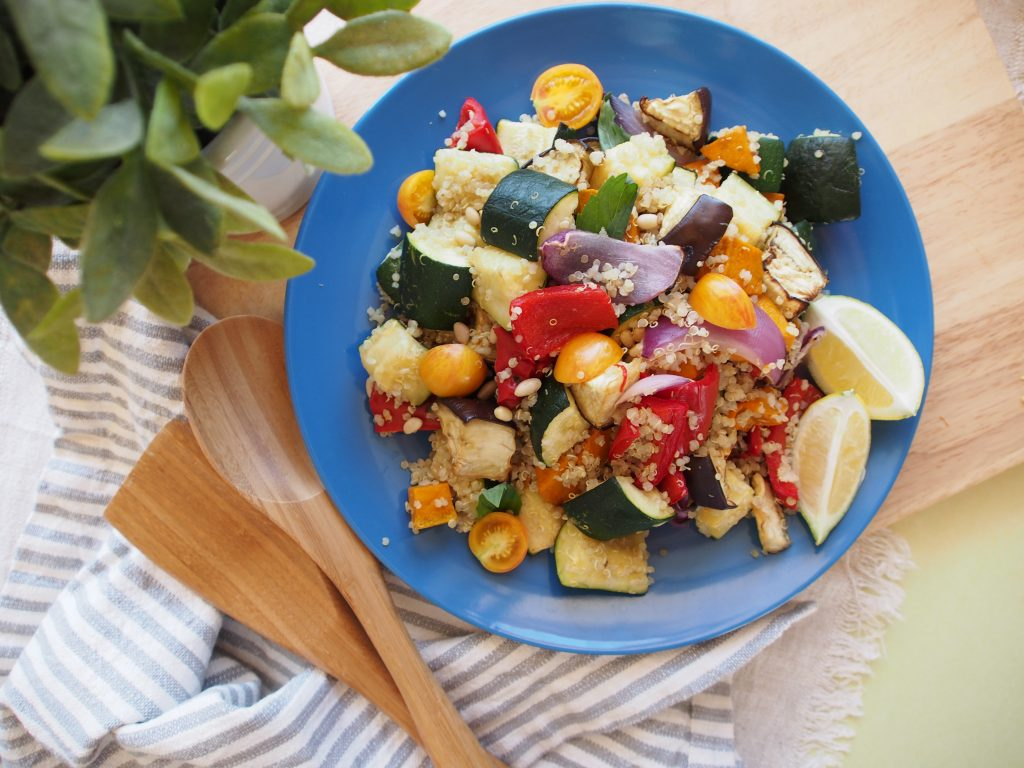 Roasted Vegetable Quinoa Salad - An Apple a Day - Alyse Co-cliff